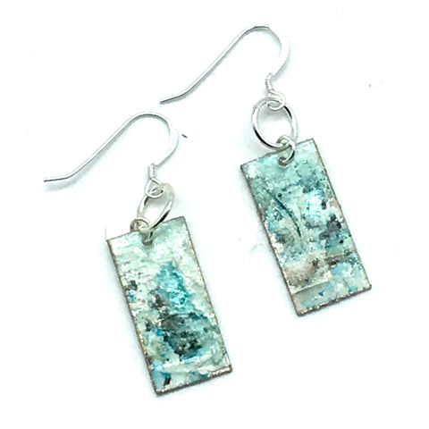 Long Rectangular Hand Painted Earrings in Shades of Aqua