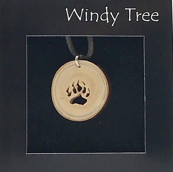 Arbutus Wood Pendant with Bear Claw
