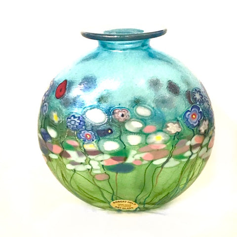 Flower Bouquet Round Flat Vase with Lip - Side Street Studio
