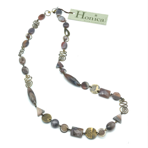 Botswana Agate Necklace - Side Street Studio