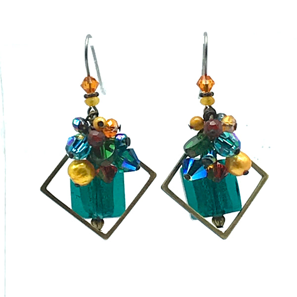 Galaxy Earrings with Glass - Side Street Studio