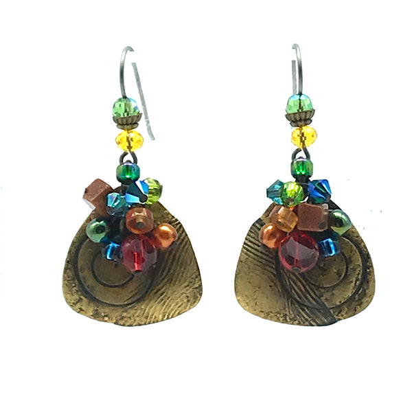 Galaxy Earrings with Handworked Brass - Side Street Studio