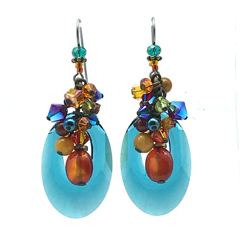 Galaxy Earrings with Carnelian Agate - Side Street Studio