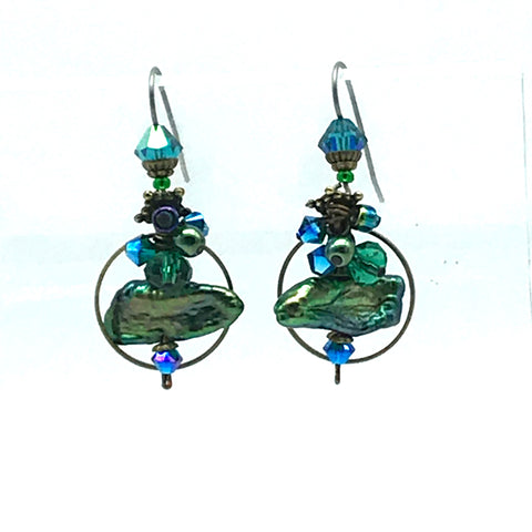 Atlantis Earrings, 1 1/2 inches - Side Street Studio