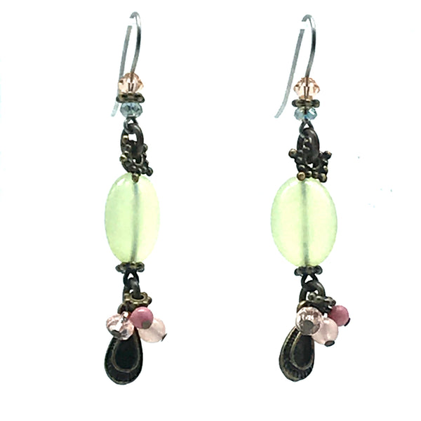 Early Morning Green and Pink Earrings, 2 1/4 inches - Side Street Studio
