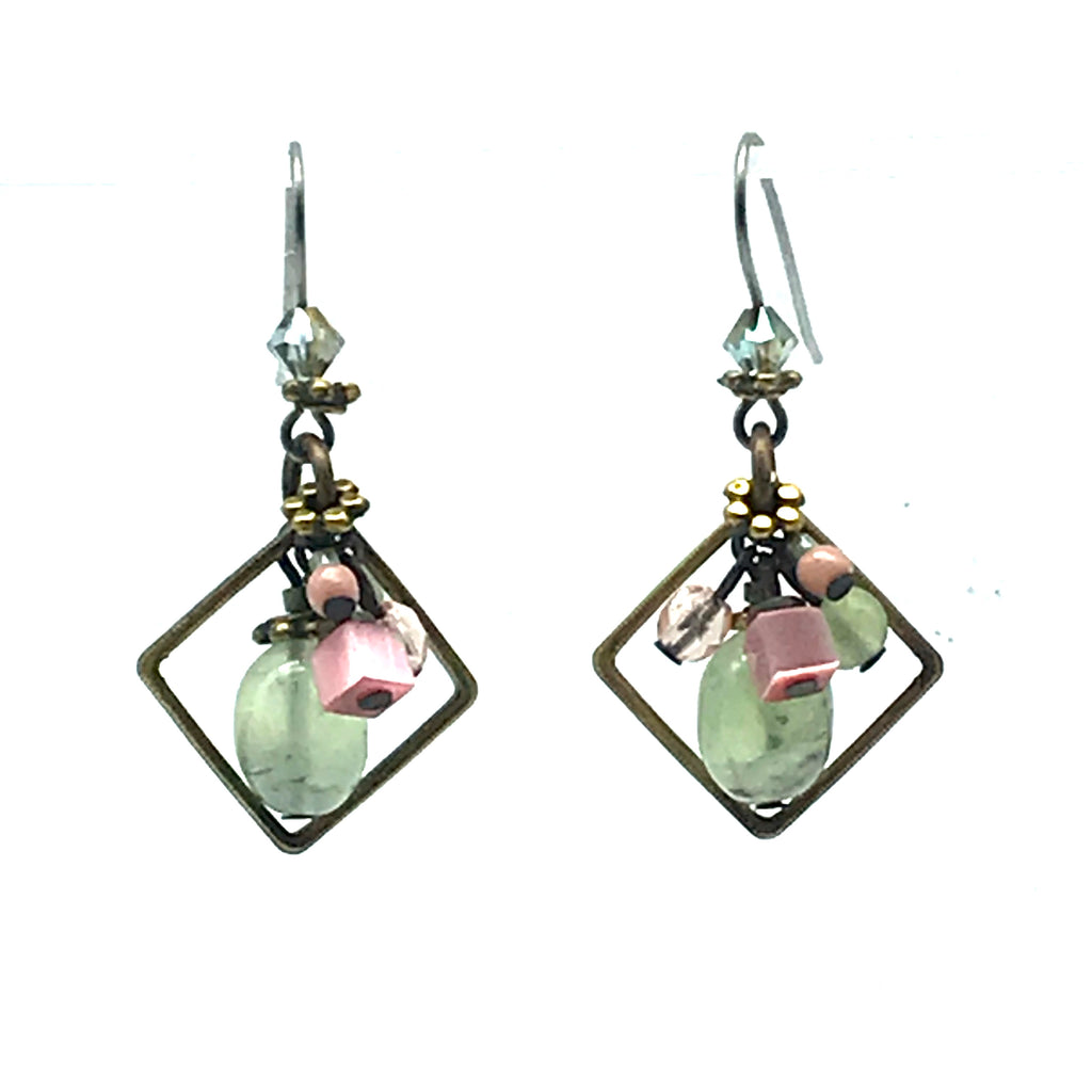 Early Morning Green and Pink Earrings, 1 2/3 inches - Side Street Studio