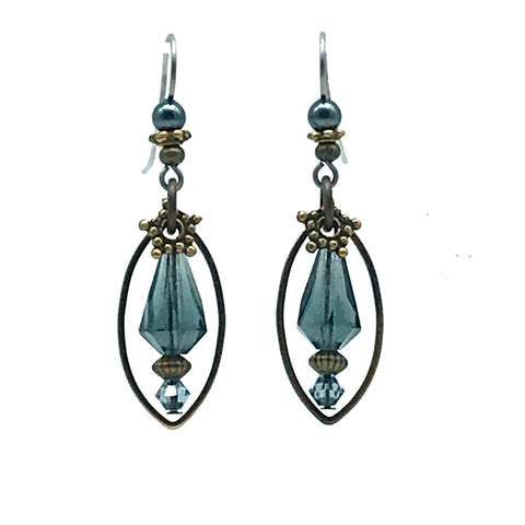 Tofino Blue Earrings with Glass, 2 inches - Side Street Studio