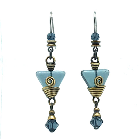 Tofino Blue Earrings with Glass - Side Street Studio