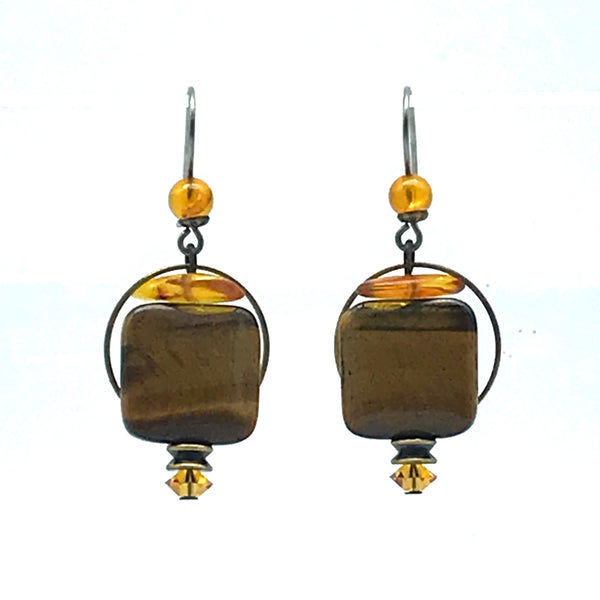 Elemental Amber Earrings with Tiger's Eye - Side Street Studio