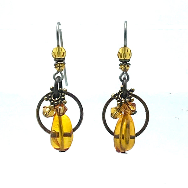Elemental Amber Earrings with Baltic Amber - Side Street Studio