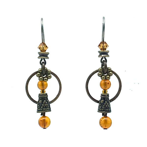 Elemental Amber Earrings with Austrian Crystal - Side Street Studio