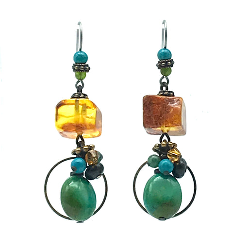 Elemental Amber Earrings with Turquoise - Side Street Studio