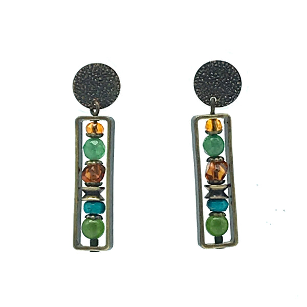 Elemental Amber Post Earrings with Turquoise - Side Street Studio