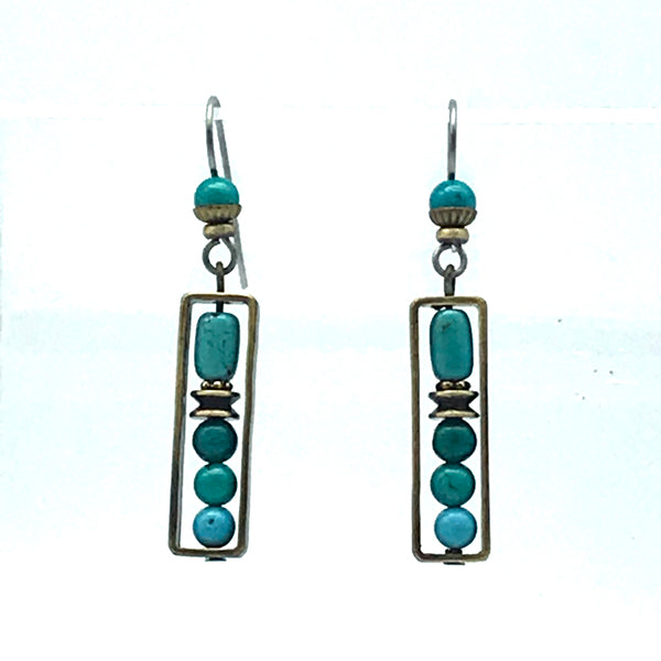 Elemental Earrings with Turquoise - Side Street Studio