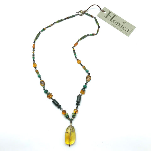 Elemental Amber Necklace, 27 inches - Side Street Studio