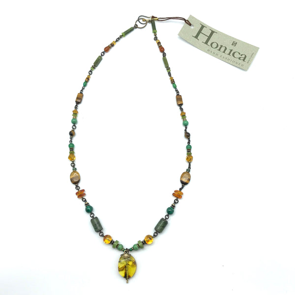 Elemental Amber Necklace, 25 inches - Side Street Studio