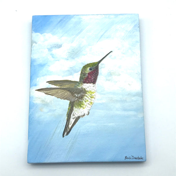 """Up and Away"" Small Hummingbird Acrylic Painting - Side Street Studio"