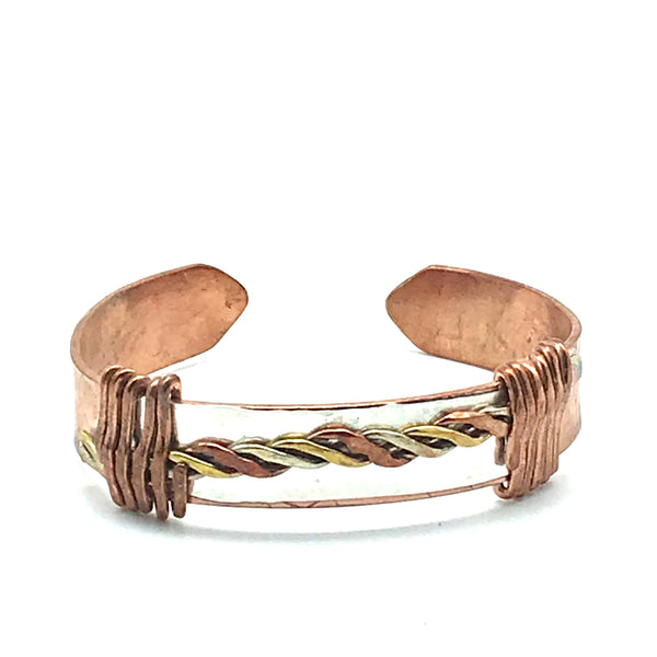 Copper, Sterling Silver and Brass Small Cuff Bracelet - Side Street Studio