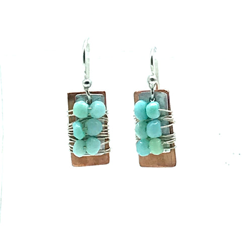 Copper and Aluminum Rectangle Earring with Peruvian Opal - Side Street Studio