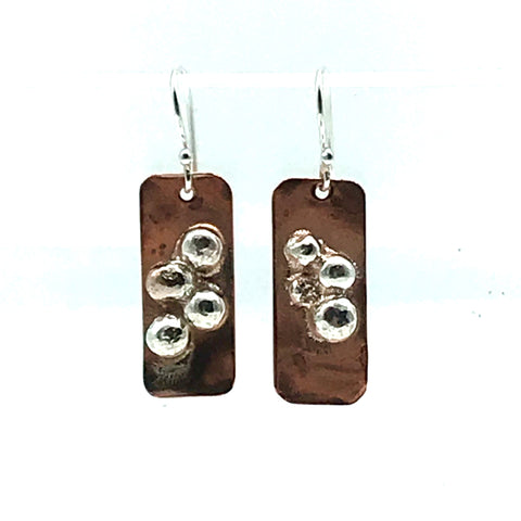 Copper Rectangle with Sterling Silver Ball Earrings - Side Street Studio