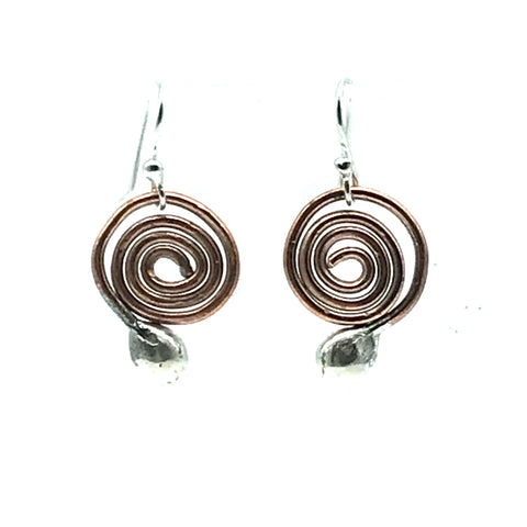 Copper Spiral with Sterling Silver Ball Earrings - Side Street Studio