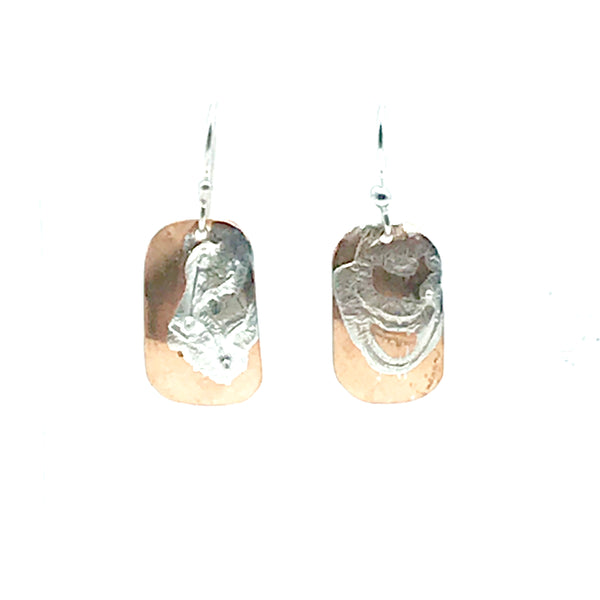 Copper and Sterling Silver Small Rectangle Shape Earrings - Side Street Studio