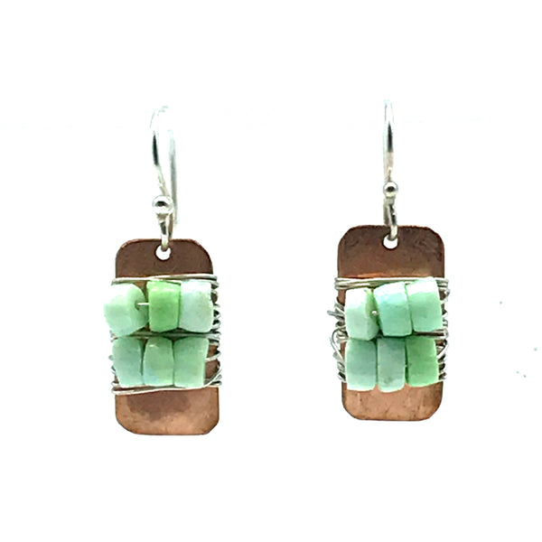 Copper Small Rectangle Shape Earrings with Sterling Silver and Green Opal - Side Street Studio