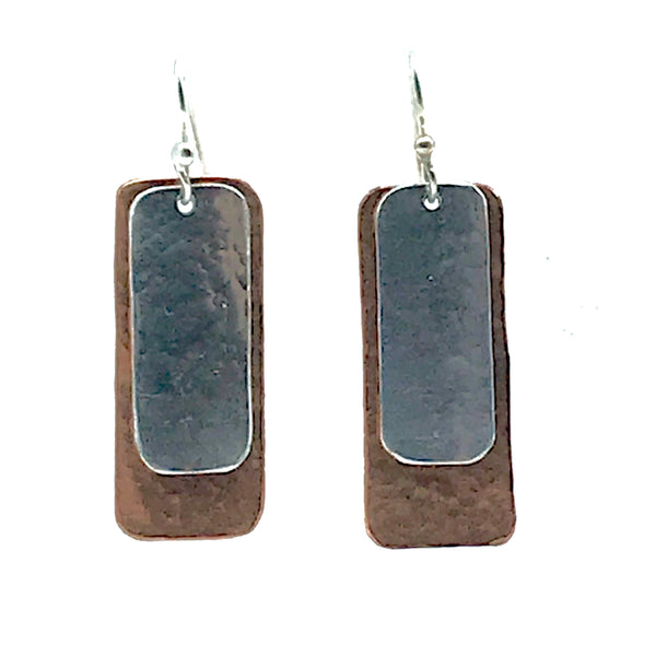 Copper and Aluminum Rectangle Earrings - Side Street Studio