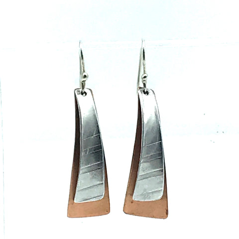 Copper and Aluminium Long Triangle Earrings - Side Street Studio