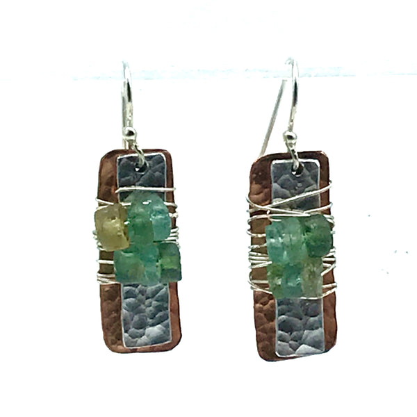 Copper and Aluminum Rectangle Earrings with Roman Glass - Side Street Studio