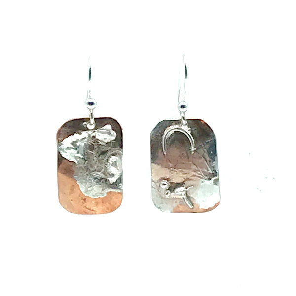 Copper and Fused Sterling Silver Rectangle Earrings - Side Street Studio