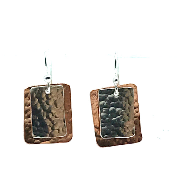 Hammered Copper and Sterling Silver Small Rectangle Earrings - Side Street Studio