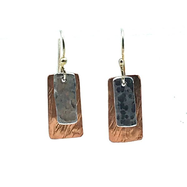 Copper and Aluminium Small Rectangle Earrings - Side Street Studio