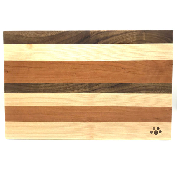 Medium Chopping Board, Maple, Cherry and Walnut 15 x 9 3/4 inches - Side Street Studio