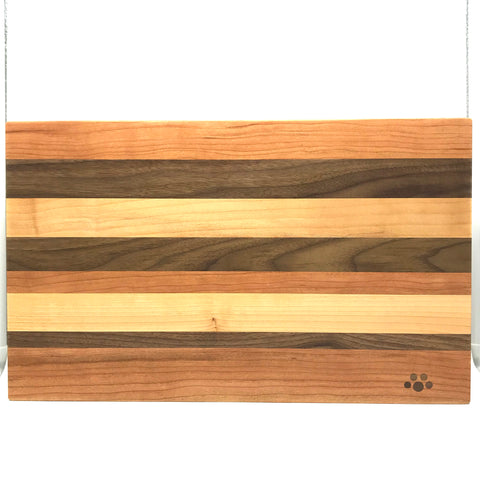 Large Chopping Board, Maple, Cherry and Walnut 17 x 10 1/2 inches - Side Street Studio