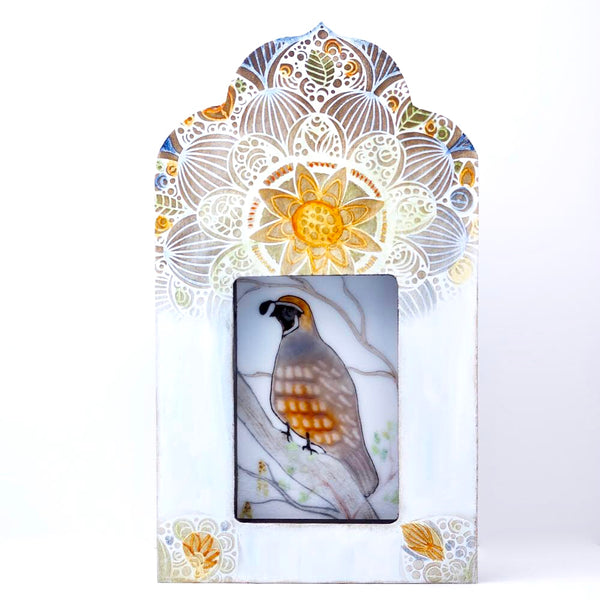 Fused Glass Art with Quail Framed in Decorated Temple - Side Street Studio