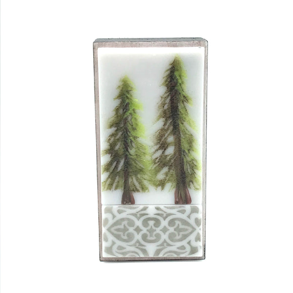 Fused Glass Art with Two Evergreen Trees - Side Street Studio
