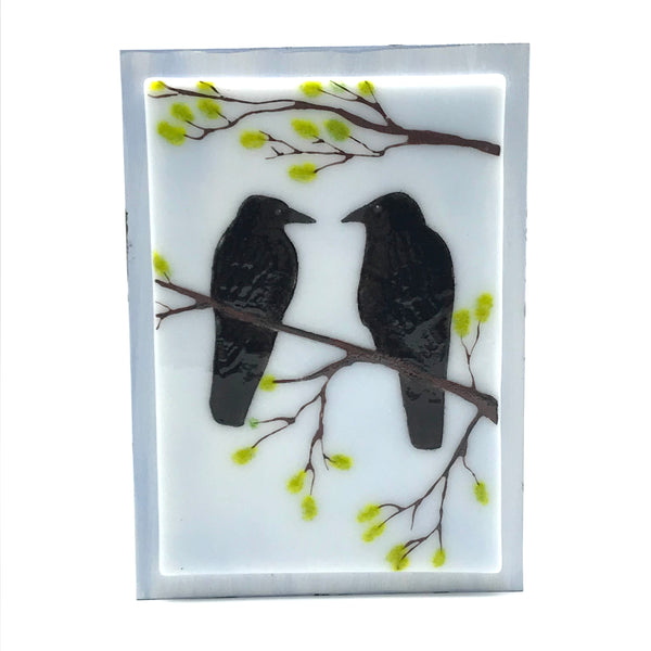Fused Glass Art with Two Crows on a Branch - Side Street Studio
