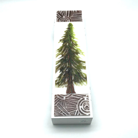 "Fused Glass Art with Single Evergreen Tree 3""x 12"" - Side Street Studio"