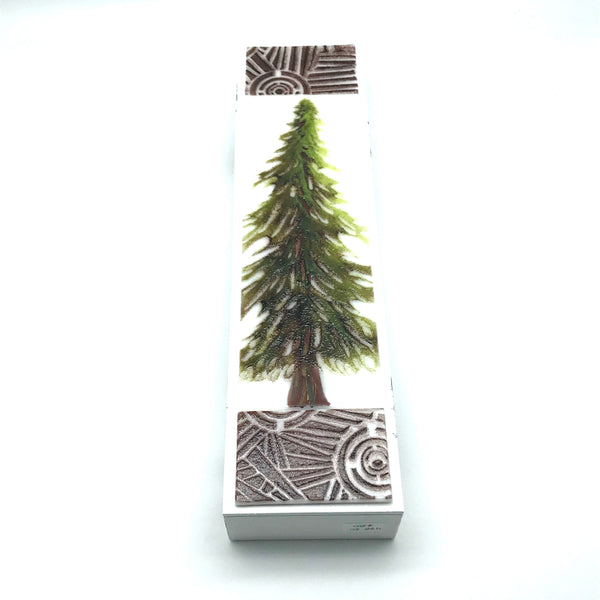 "Fused Glass Art with Single Evergreen Tree 3""x 24"" - Side Street Studio"