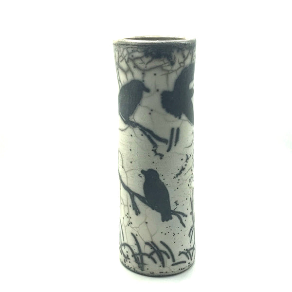 Raku Vase with Crow on Branches