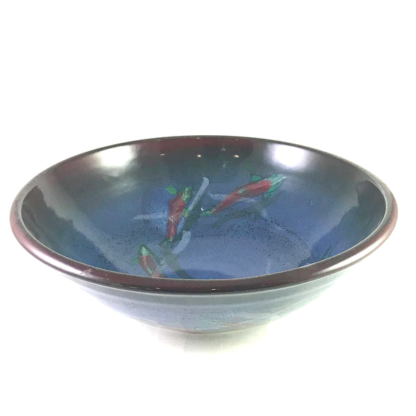 Large Serving Bowl with Salmon Design
