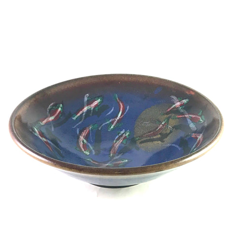 Salmon and Moon Design Serving Bowl