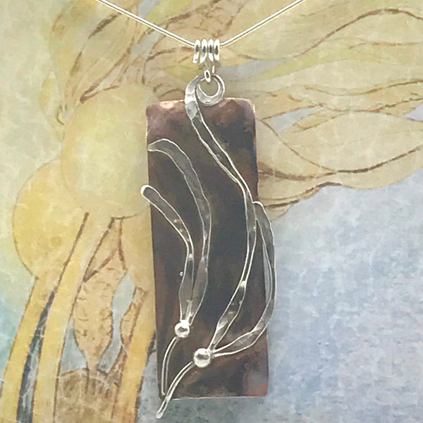 Copper Rectangle Pendant with Silver Kelp Necklace, Lazy Sway