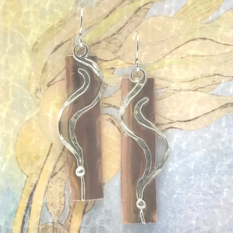 Copper Rectangle Earrings with Silver Kelp, Lazy Sway