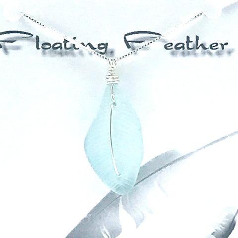 Glass fishing float, Floating Feather Pendant Necklace, drops 1 1/2 inches