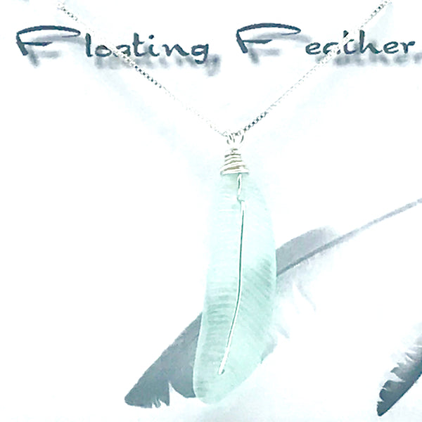 Glass fishing float, Floating Feather Pendant Necklace, drops 2 inch