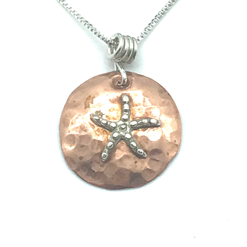 Hammered Copper Disc Necklace with Silver Starfish