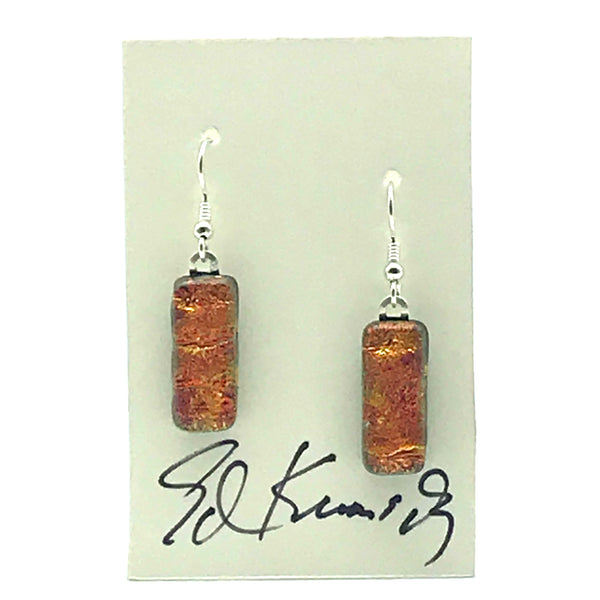 Dichroic Glass Earrings, Rectangular Orange Sparkle - Side Street Studio