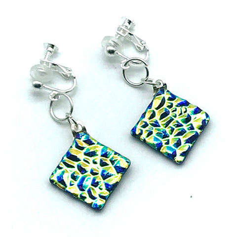 Dichroic Glass Clip-On Earrings, Diamond shape Gold and Blue - Side Street Studio
